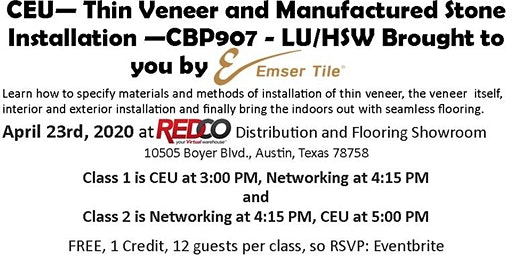 CEU - Thin Veneer and Manufactured Stone  Installation  Indoors to Outdoors