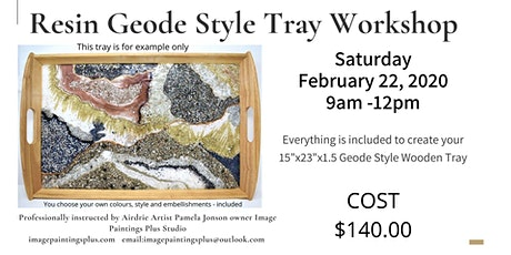 Resin Geode Style on Wooden Tray tickets