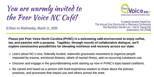 Peer Voice NC World Cafe 2020