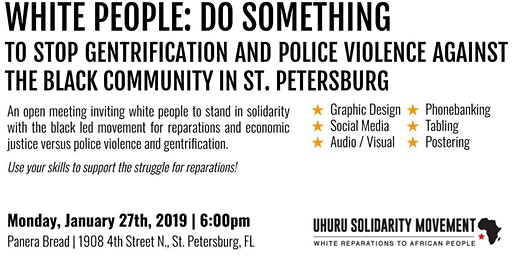 WHITE PEOPLE: DO SOMETHING! Open Uhuru Solidarity Movement Meeting