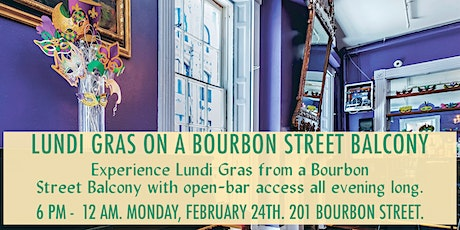 Lundi Gras Night on a Bourbon Street Balcony with Open Bar (201 Bourbon St) tickets