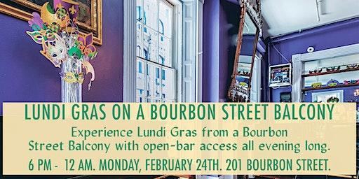 Lundi Gras Night on a Bourbon Street Balcony with Open Bar (201 Bourbon St)