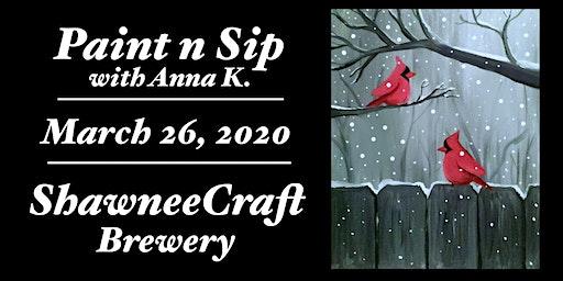Paint n Sip- Cardinals part 2 @ ShawneeCraft