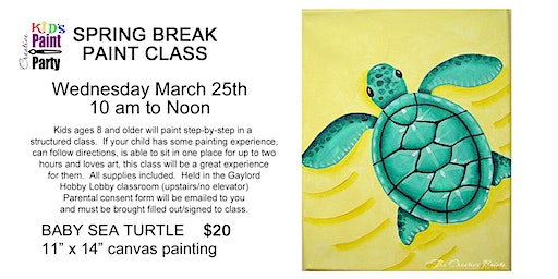 Kid's Spring Break Painting Class--Wednesday, March 25th  10 am