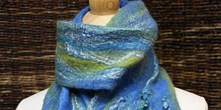 Wet Felted Scarf with Silk
