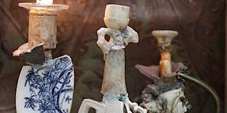 Assemblage Candlesticks made from cast off ephemera ; An art workshop tickets