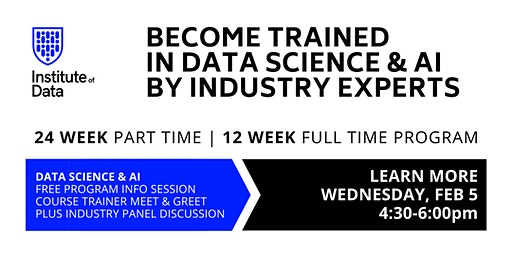 Data Science & AI Training Program: Free Info Session: 4:30pm