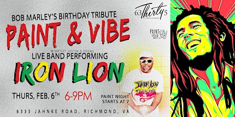 "Bob Marley Tribute ""Paint & Vibe"" tickets"