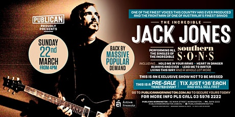 Jack Jones LIVE at Publican, Mornignton! tickets