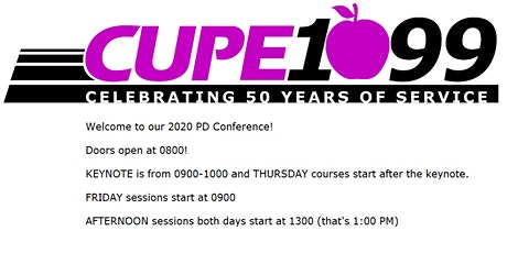 CUPE 1099 PD Conference 2020 tickets