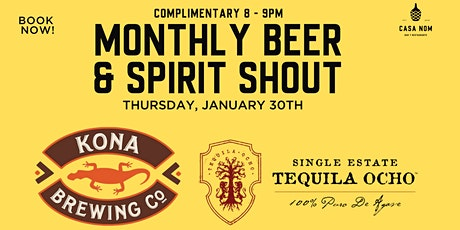 Free Beer & Tequila Monthly Bar Shout tickets