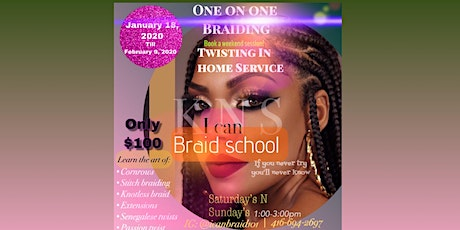 One on one in home braiding/twist sessions  tickets