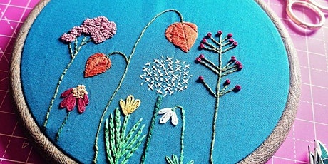 Pixels and Purls Autumn Flowers Embroidery Crafternoon Tea Workshop tickets