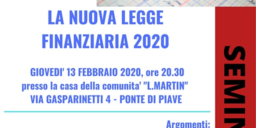 LA NUOVA LEGGE FINANZIARIA 2020