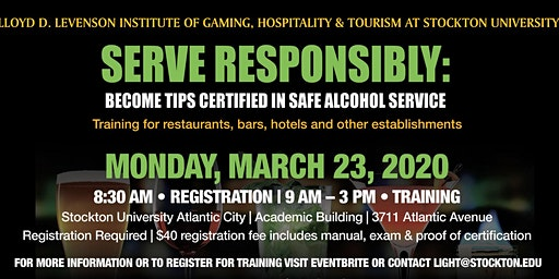 Serve Responsibly: Safe Alcohol Service for Tourism, Food Service & Hospitality with TIPS -2020