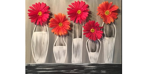 3D Gerber Daisy Flower Vase Canvas Paint Sip Wine Art Maker Class