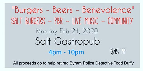 """""""Burgers - Beers - Benevolence""""  A benefit for Byram's Detective Todd Duffy tickets"""