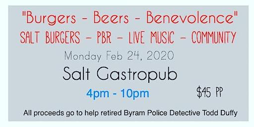 """""""Burgers - Beers - Benevolence""""  A benefit for Byram's Detective Todd Duffy"""