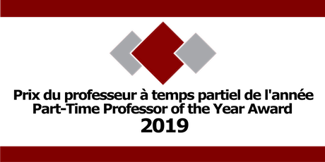 Professeur à temps partiel de l'année 2019 Part-Time Professor of the Year tickets
