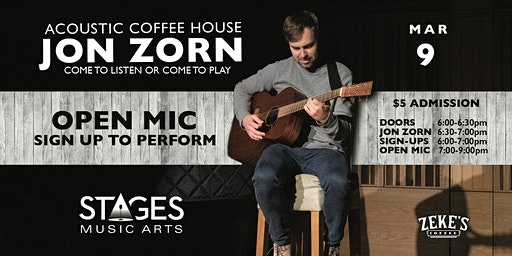 Jon Zorn LIVE at Stages Acoustic Coffee House on Monday 3/9