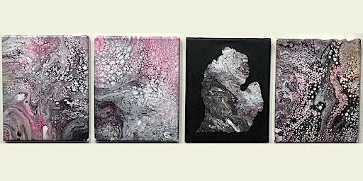 Acrylic Pour 4-piece Grid Design
