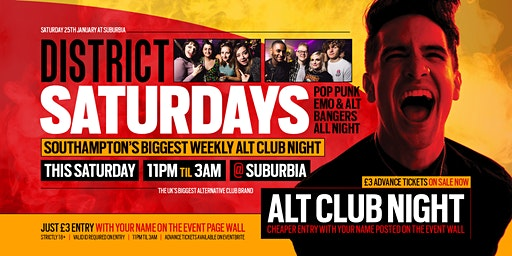 DISTRICT Southampton // Throwback Alt & Emo Bangers // This Saturday