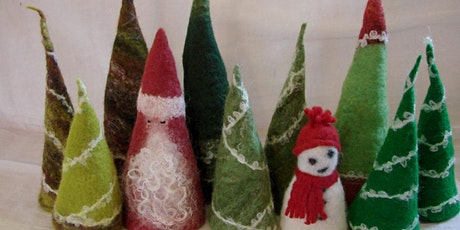 Learn how to make a Felted Christmas tree or Tomten decoration tickets