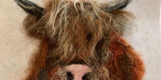 Needle felt a highland cow