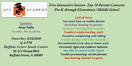 Top 10 concerns pre-K through elementary/middle school