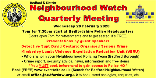 Bedford Neighbourhood Watch Quarterly Meeting February 2020