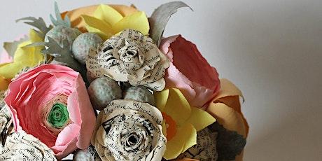 Spring paper flower wreath tickets