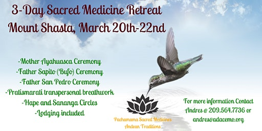 3 Day Sacred Medicines Celebration Retreat (Ayahuasca, San Pedro, Bufo)
