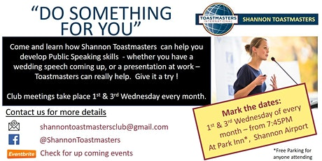 Shannon Toastmasters Club - Meeting 1st and 3rd Wednesday  of every month tickets