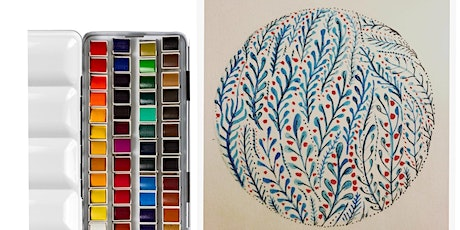 Stress Less Art Workshop! Watercolours Flowers, painting class for adults tickets