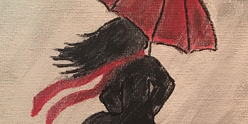 Coffee & Canvas: Red umbrella girl