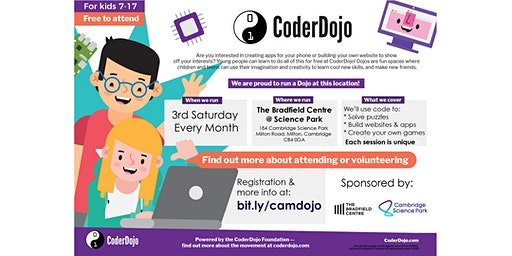 FREE CoderDojo: kids 7-17 learn to code. March, 2020