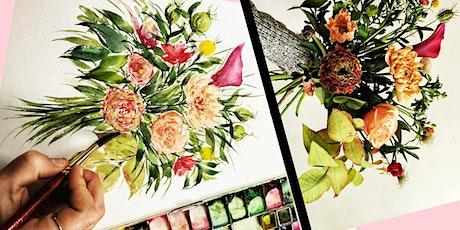 Floral arrangement & Floral watercolour painting - Valentine's Day Workshop tickets