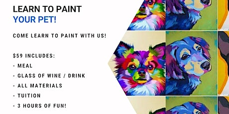 Grab a glass of wine and learn how to paint your pet! tickets