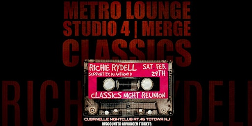 CLASSICS w/RICHIE RYDELL: A Night Of Studio 4/ Metro Lounge/ Merge Classics