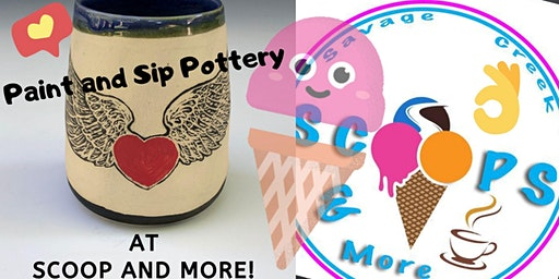 Sip and Paint Pottery at Scoops and More!