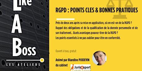 Atelier Like A Boss: RGPD, points clés & bonnes pratiques billets
