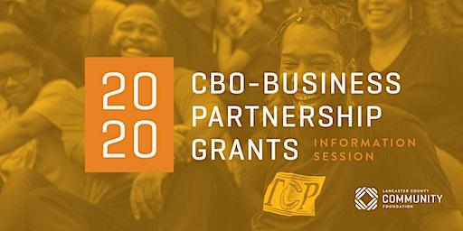 2020 CBO - Business Partnership Grants Information Session