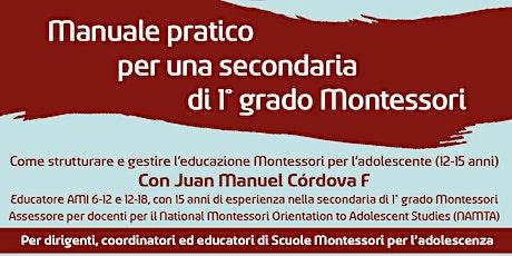Manuale pratico per una secondaria di 1 grado Montessori biglietti