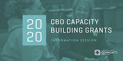 2020 CBO Capacity Building Grants Information Session