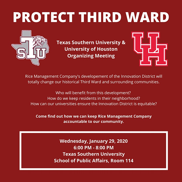 Protect Third Ward: TSU & UH Organizing Meeting image