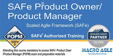 SAFe 5.0 Product Owner/Product Manager with Certification- Virtual tickets