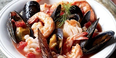 Herbed Foccacia and Cioppino with Sangiovese Wine