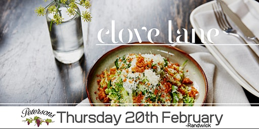 Petersons Wines Food & Wine Matching Dinner Clove Lane