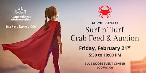 8th Annual Agape Villages Surf n' Turf Crab Feed & Auction