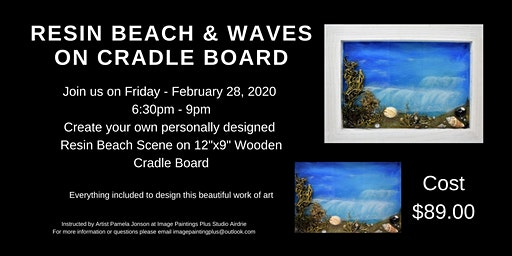 Resin Beach and Waves on Cradle Board